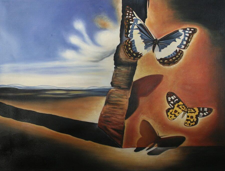 The Landscape with Butterflies,1956 by Salvador Dali